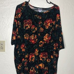 LulaRoe Irma Tee with Orange Floral Print